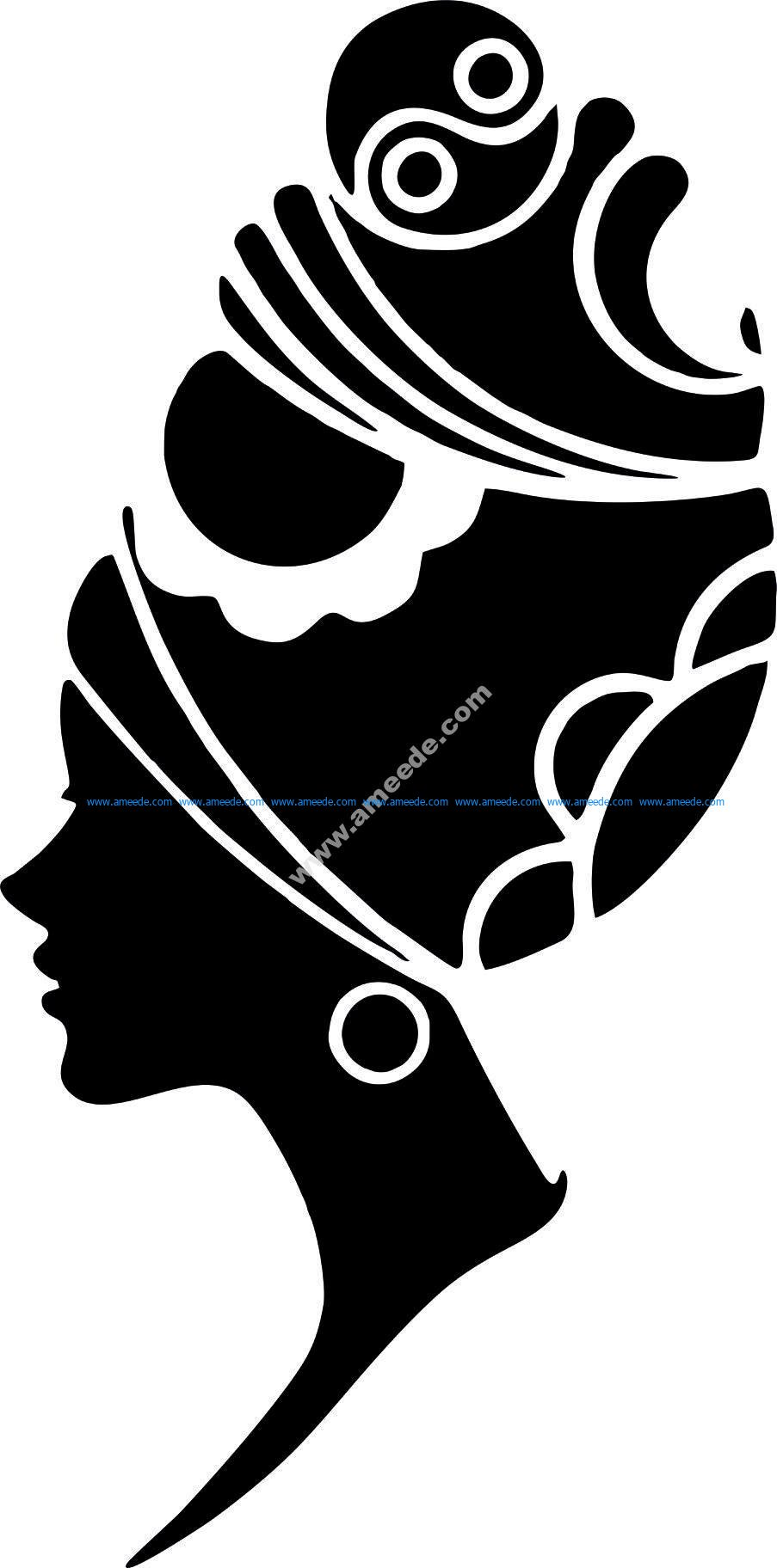 Woman Face Silhouette Vector Art jpg Image