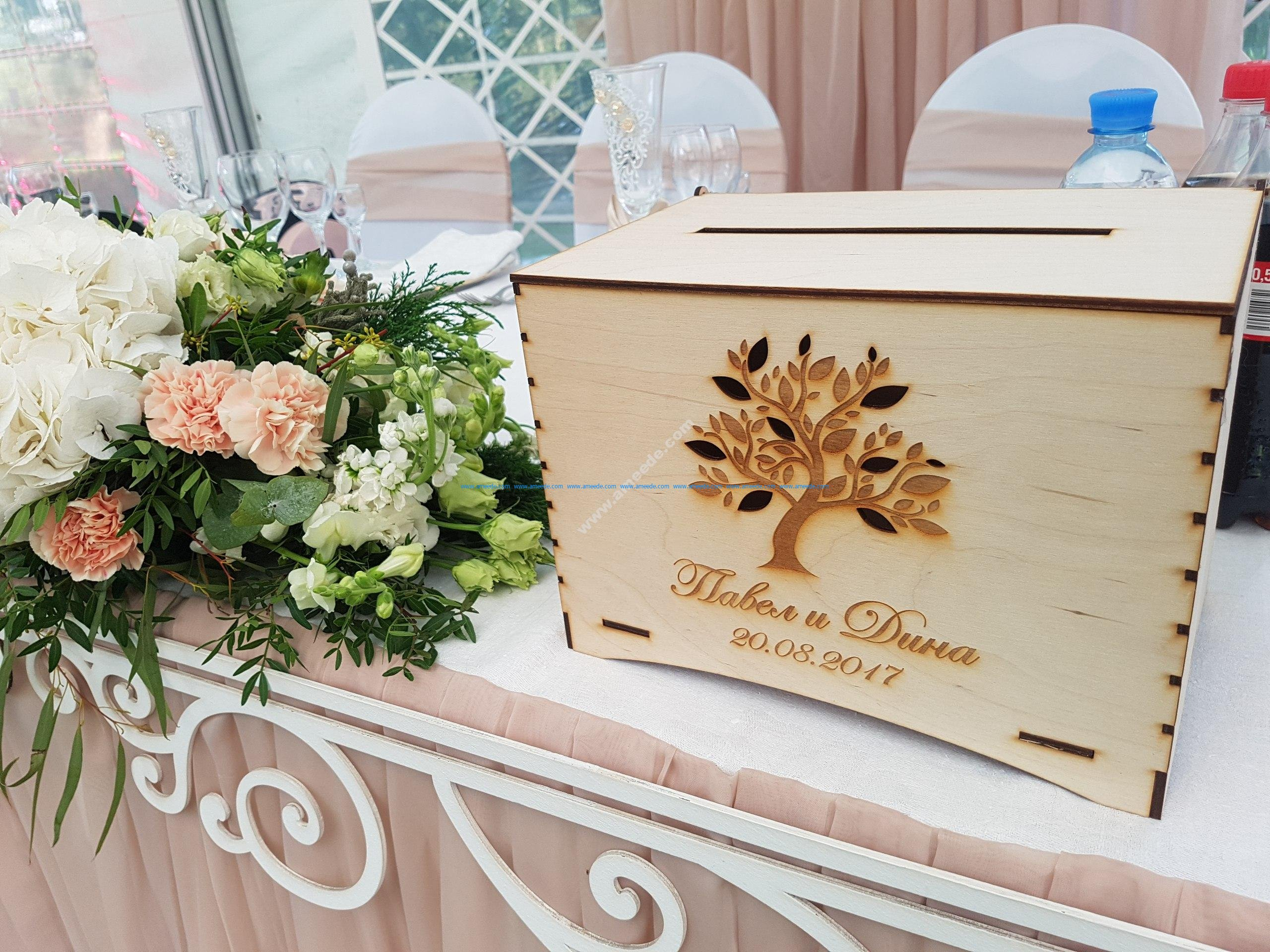 Wooden Wedding Boxes With Slot on Top Money Card Storage