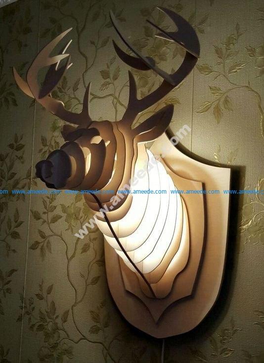 Wooden light decorative deer head