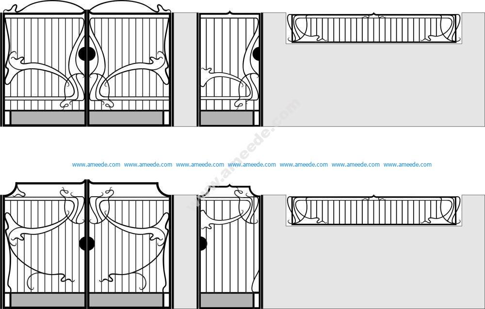 Wrought Iron Gate Vector Art