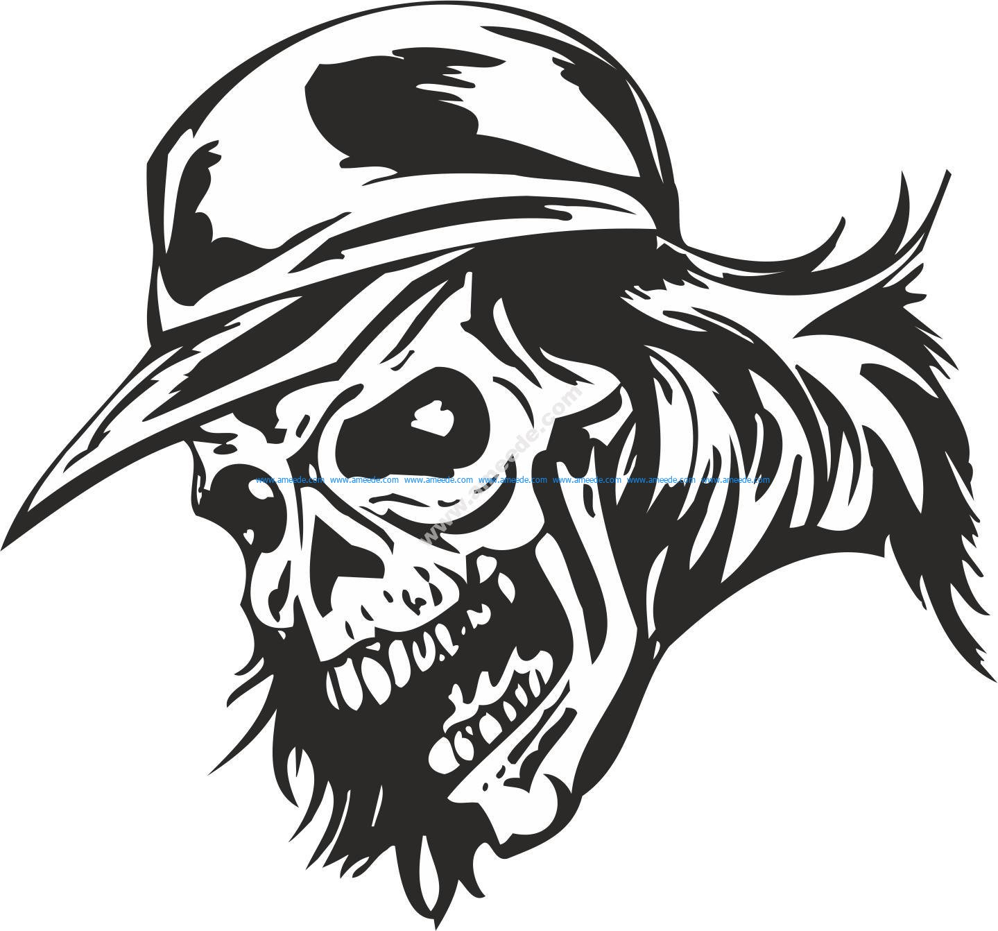 Zombie Skull With Cap Sticker Vector Download Free Vector