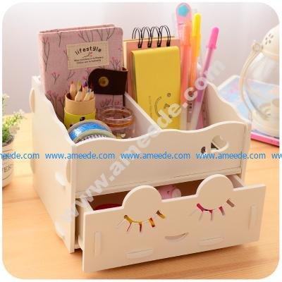 Wooden Storage Box Desk Organizer for Cosmetics