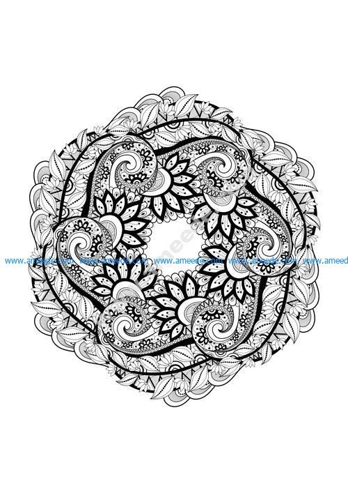 Coloriage Adulte Mandala Feuilles Et Fleurs Graphic Design