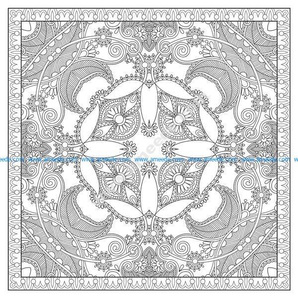 Coloriage Mandala Complexe Carre Par Karakotsya 1 Download Free Vector