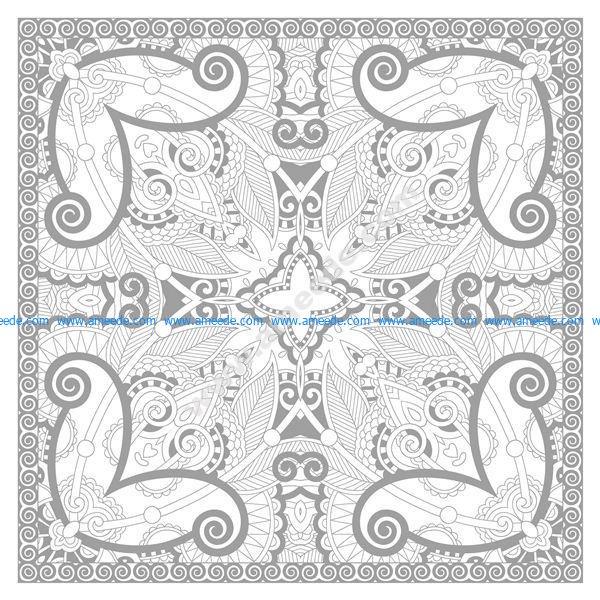 Coloriage Mandala Complexe Carre Par Karakotsya 2 Download Free Vector
