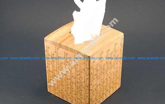 Engraved Bamboo Tissue Box Cover