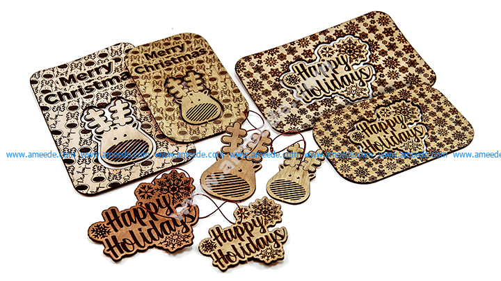 Laser Cut Christmas Cards with Popout Ornament