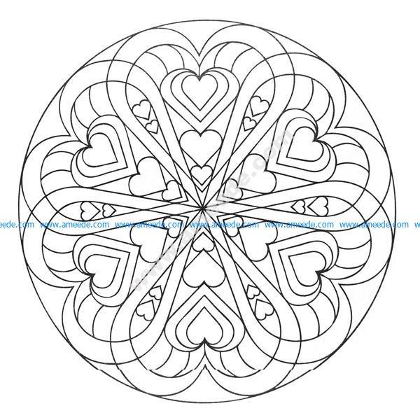 Mandala a colorier coeurs