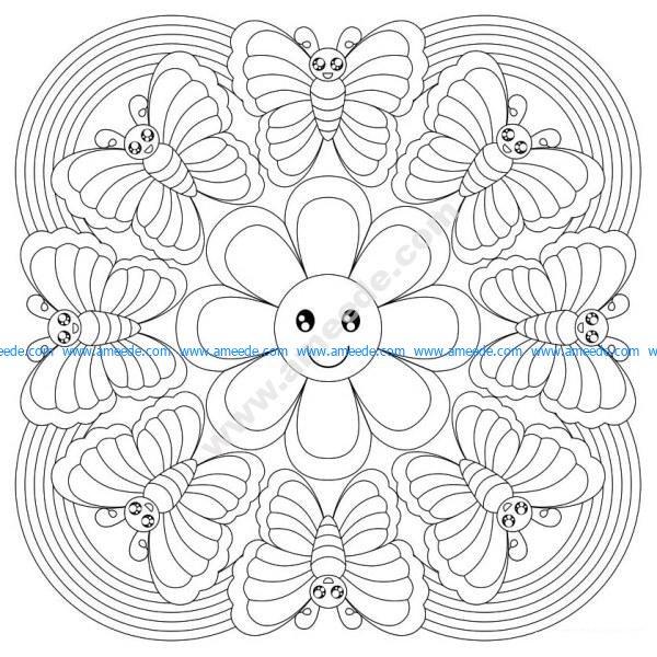 Mandala a colorier gratuit papillons et petite fleur