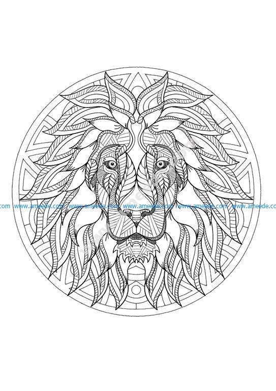 Download Mandala tete lion 3 - Download Free Vector