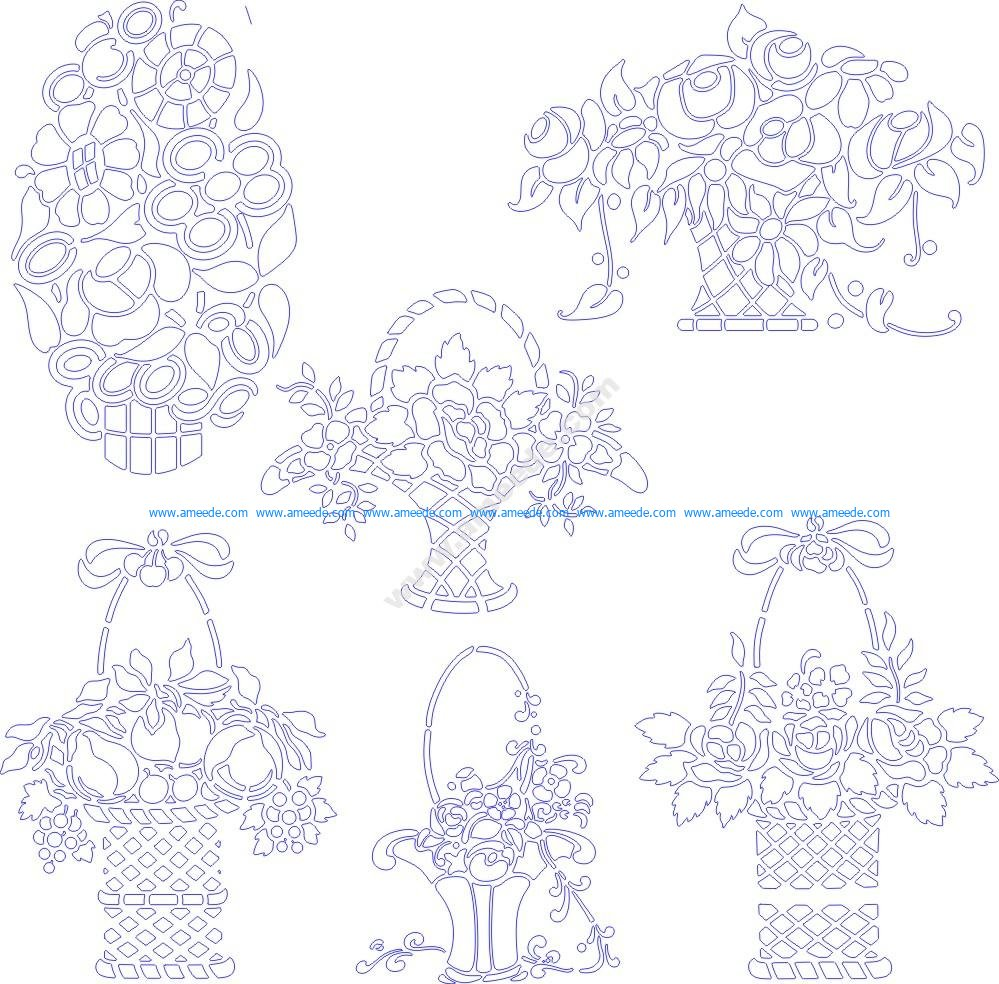 Stencils of flowers in baskets