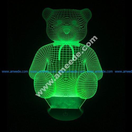 Teddy bear 3d illusion vector