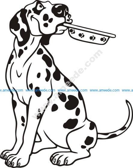 Cartoon Dalmatian Dog Sitting