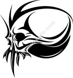 Demon Skull on white — Stock Vector