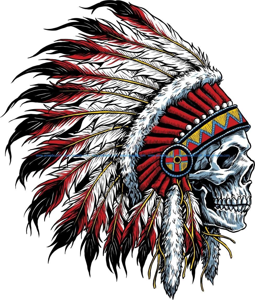 Sugar Skull With Indian Headdress Tattoo