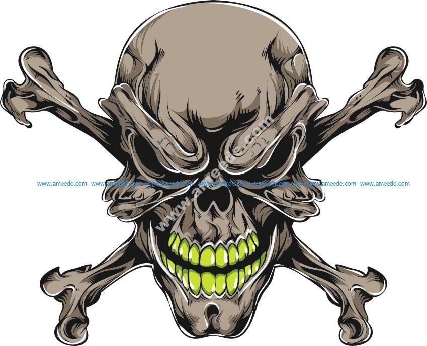 Grunge skull isolated on white