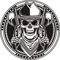 Skull cowboy and guns