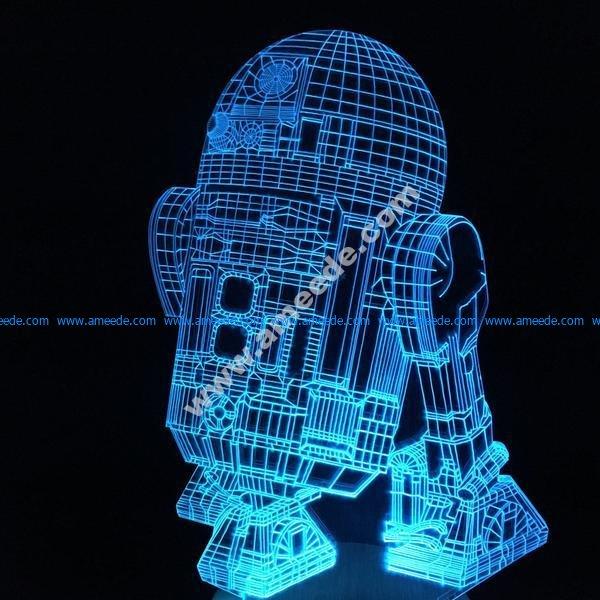 Robot 3d illusion lamp