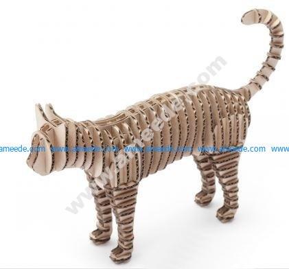 Cat 3D Puzzle Laser Cut CNC Plans – Graphic Design Vector