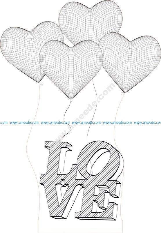 Heart 3d Illusion Lamp Vector