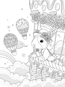 miss rabbit takes hot air balloon ride to the sky