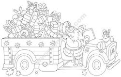 Santa Claus carrying Christmas presents on his truck