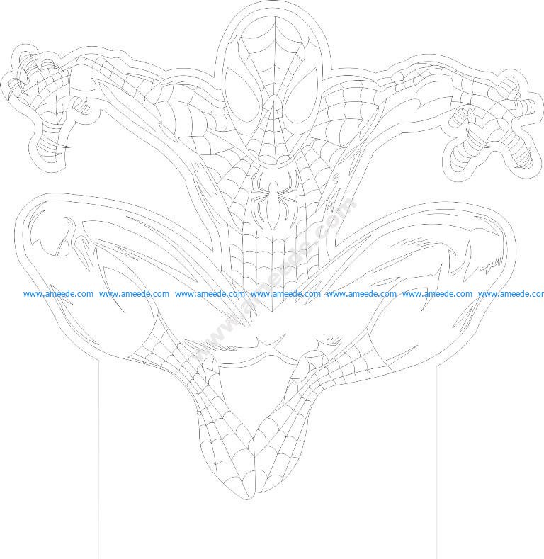 Spider man 3d Illusion Lamp Vector