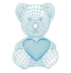 Teddy bear with heart 3d illusion lamp