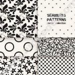 Vector set of six seamless patterns. Floral and polka