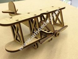 Bi Plane 0.125in Wooden Toy Airplane Laser Cut