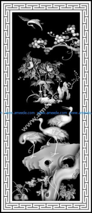 Birds Scenery Grayscale Image BMP