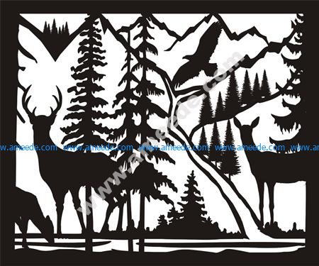 Doe Buck Doe Eagle River Plasma Metal Art DXF