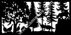 Mountain Lion And Turkeys Plasma Metal Art DXF