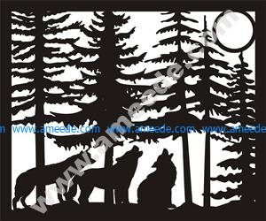 Three Wolves Moon Plasma Metal Art DXF