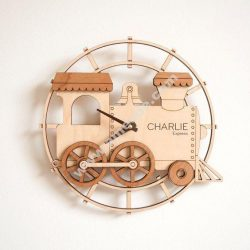 Train Shape Wall Clock Laser Cut Template