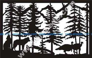 Two Wolves Turkeys Plasma Metal Art DXF File – Amee House