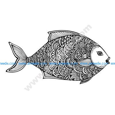 Zentangle Fish Free Vector