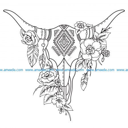 Abstract Animal Head with Flowers