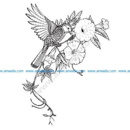 Bird Flowers Decor Vector