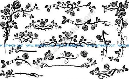 Black Seamless Rose Floral Pattern
