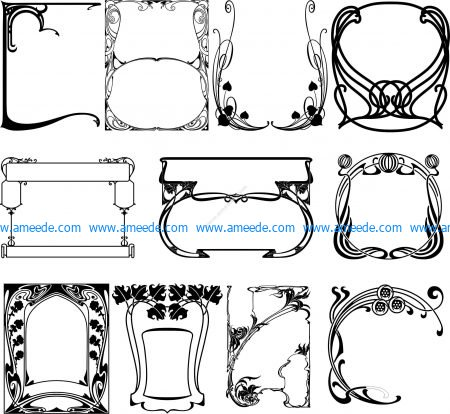Collection of 11 decorative frames
