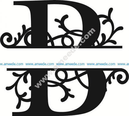 Flourished Split Monogram B Letter