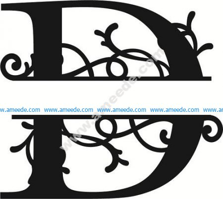 Flourished Split Monogram D Letter