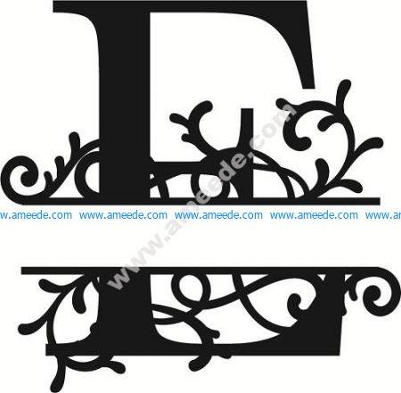 Flourished Split Monogram E Letter