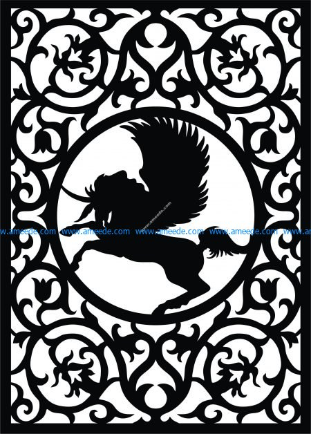 Pegasus fretwork pattern