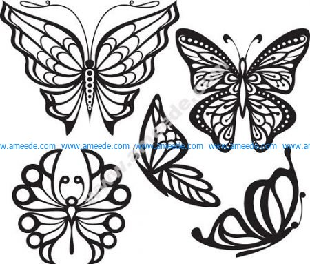 Set Of Butterfly Tattoos