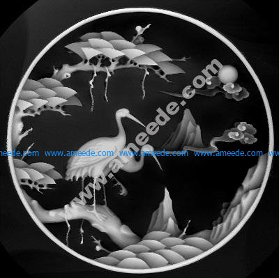 Stork landscape painting
