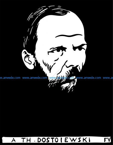 Vectorized woodcut of Fyodor Dostoyevsky