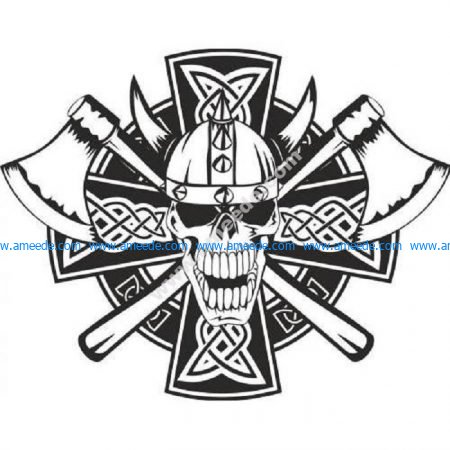 Celtic skeleton skull Viking