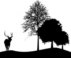 Deer And Tree Silhouette